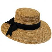 Side Bow Organic Raffia Straw Boater Hat