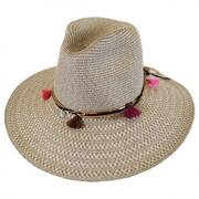 Tassel Trim Toyo Straw Safari Fedora Hat