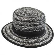 Crocheted Toyo Straw Boater Hat