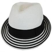 Striped Brim Toyo Straw Fedora Hat