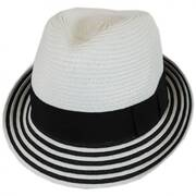 Striped Brim Toyo Straw Fedora Hat