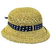 Kids' Polka Dot Bow Toyo Straw Sun Hat