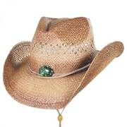 Opalesque Conch Raffia Straw Western Hat