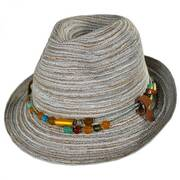 Spain Straw Fedora Hat w/ Removable Necklace