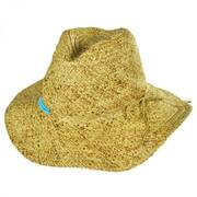 Turquoise Beaded Toyo Straw Fedora Hat