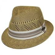 Panama Striped Straw Fedora Hat