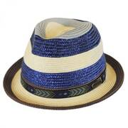 Striped Straw Fedora Hat