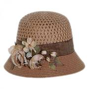 Rose Branch Packable Toyo Straw Cloche Hat