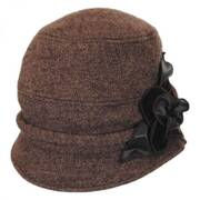 Leather Rose Wool Felt Cloche Hat