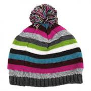 Striped Knit Pom Beanie Hat