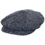 Large Herringbone Donegal Tweed Wool Newsboy Cap