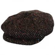 Large Herringbone Donegal Tweed Wool Newsboy Cap