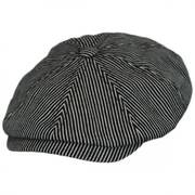 Falc Striped Cotton Newsboy Cap