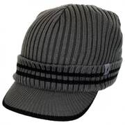 Ribbed Visor Knit Beanie Hat