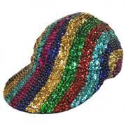 Rainbow Stripe Sequin Baseball Cap