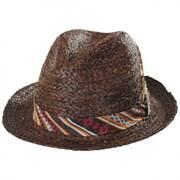 Navajo Raffia Straw Fedora Hat