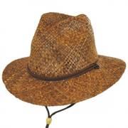 Anza Chincord Raffia Straw Safari Fedora Hat