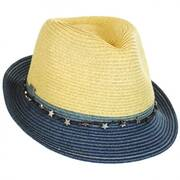 Star Band Toyo Straw Trilby Fedora Hat