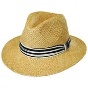 Striped Band Raffia Straw Fedora Hat