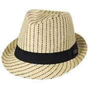 Pinstripe Toyo Straw Trilby Fedora Hat