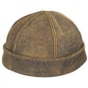Six Panel Antique Leather Skull Cap Beanie Hat