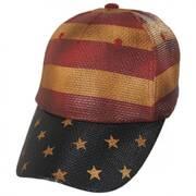 Stripes and Stars Straw Adjustable Baseball Cap