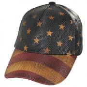 Stars and Stripes Straw Adjustable Baseball Cap