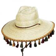 Bells Palm Leaf Straw Safari Fedora Hat