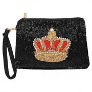 Balmoral Beaded Cotton Zipper Clutch