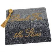 Reach for the Stars Beaded Cotton Zipper Clutch
