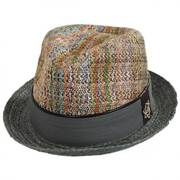 Mosaic Raffia Straw Blend Fedora Hat