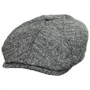 Silk Herringbone Newsboy Cap