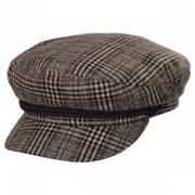 Houndstooth Plaid Wool Blend Fiddler Cap
