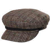Houndstooth Plaid Wool Blend Fiddler Cap