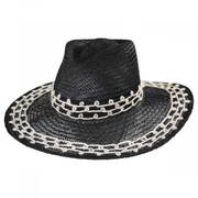 Joanna Embroidered Palm Straw Fedora Hat