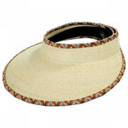 Bondi Ikat Trim Palm Straw Visor