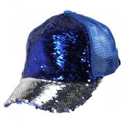 High Ponytail 2Tone Sequin Mesh Trucker Adjustable Baseball Cap