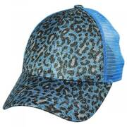 High Ponytail Glitter Leopard Mesh Adjustable Baseball Cap
