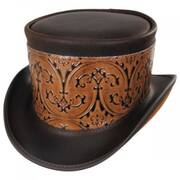 El Dorado Leather Top Hat with Brown Heraldic Hat Wrap Band