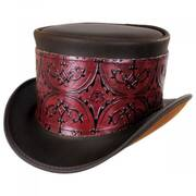El Dorado Leather Top Hat with Red Heraldic Hat Wrap Band