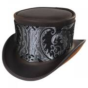 El Dorado Leather Top Hat with Silver Medallion Hat Wrap Band