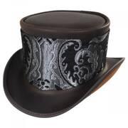 El Dorado Leather Top Hat with Silver Medallion Hat Wrap Band