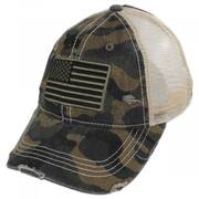 High Ponytail Camo US Flag Mesh Trucker Baseball Cap