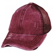 High Ponytail Distressed Mesh Trucker Baseball Cap