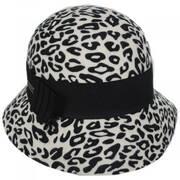 Snow Leopard Wool Felt Cloche Hat