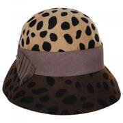 Leopard Wool Felt Cloche Hat