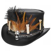 Broken Bones Leather Top Hat