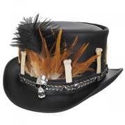 Broken Bones Leather Top Hat