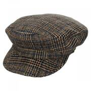 Unstructured Plaid Wool Blend Fiddler Cap
