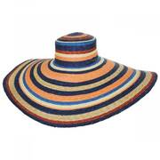 Milan Stripe Wide Brim Wheat Straw Sun Hat